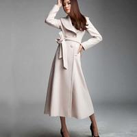 2015秋冬款原创羊绒大衣毛呢外套女超长款加厚修身大衣大圆领包邮