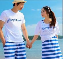 包邮 情侣装 夏装 新款班服婚纱照装蓝色条纹海边沙滩裤背心裙T恤