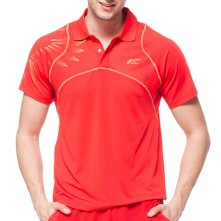 KaiSheng Kason badminton series red orange blouse/short sleeve man game FAYE019-2