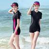 女士连体泳衣保守大码泡温泉平角游泳衣显瘦运动胖mm遮肚专业泳装
