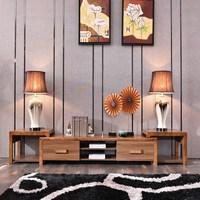 客厅壁挂可左右伸缩电视柜 实木橡木厅柜 简约现代新中式地柜组合