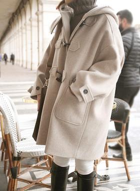 韩国2016秋冬新款韩版宽松学生呢子大衣女中长款牛角扣毛呢外套潮