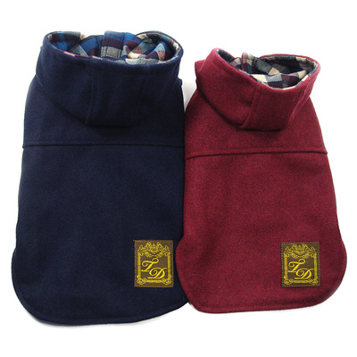 British style woolen coat thick coat dog clothes dog fall and winter clothes pet clothes Tai Dibo America