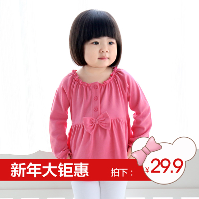 Blessings Baby Bear Baby long-sleeved T-shirt cotton T-shirt female bow bottoming shirt Girls Spring and Autumn 10105