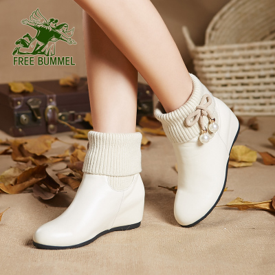 Free to wander white shoes increased within a short flat boots leather boots children autumn and winter boots wool and cashmere