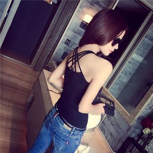夏季百搭白黑色性感吊带背心女士外穿短款无袖挂脖露肩打底衫