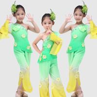 儿童秧歌服女童古典舞蹈服装伞舞扇子舞演出服现代民族秧歌舞蹈服