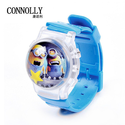 Children jelly waterproof electronic table table small yellow man cartoon boy and girl students watch children watch