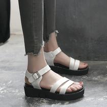 2017夏季新款坡跟凉鞋女厚底罗马鞋松糕鞋一字扣女鞋韩版高跟凉鞋