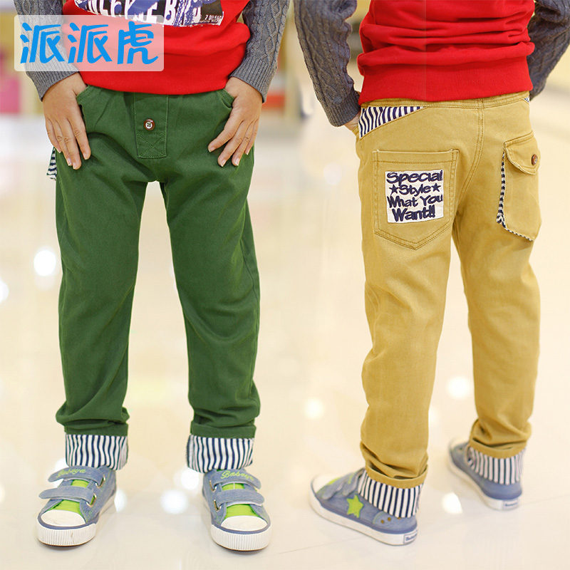 sent by Tiger special children's wear boys pants trousers fall 2014 New children in leather waist band belt pants