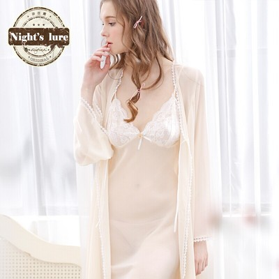Recommended Naisi dew spring models multicolor luxury temperament noble piece suit chiffon lace nightgown bathrobe women