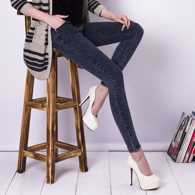 Sea in 2014 to make way for Korean Fan jeans female thin pencil pants pants feet high stretch pants Slim trousers