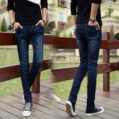 Binda 2014 Cotton Flax Slim feet stretch jeans men jeans male small straight leg trousers tide