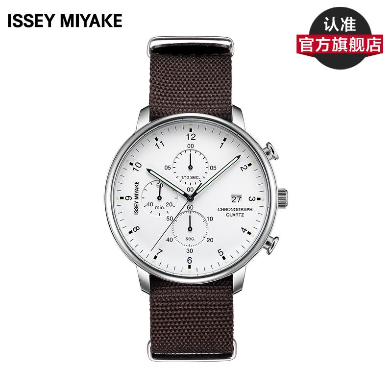 Issey Miyake C系列 三宅一生三眼计时男表时尚休闲尼龙带手表