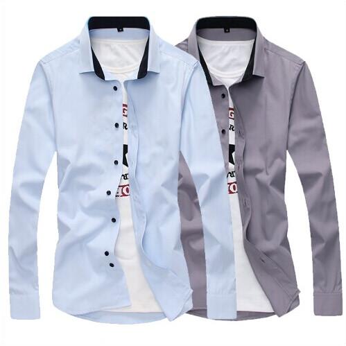 秋季新款长袖衬衫森马男装韩版修身男士衬衣方领纯色青少年寸衫潮