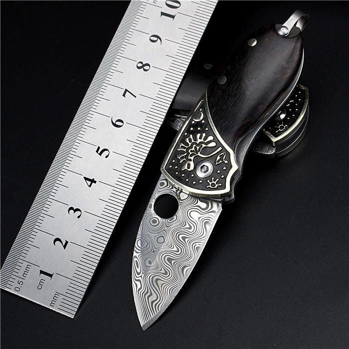瑞典粉末大马士革刀具迷你袖珍锁匙圈防身随身折刀军刀档次折叠刀