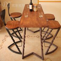 创意实木吧台椅子铁艺做旧高脚酒吧凳时尚咖啡厅餐桌椅星巴克桌椅