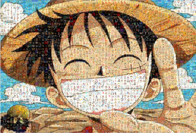 High definition copyrighted luffy 1000 pieces of smiling for Definition mural
