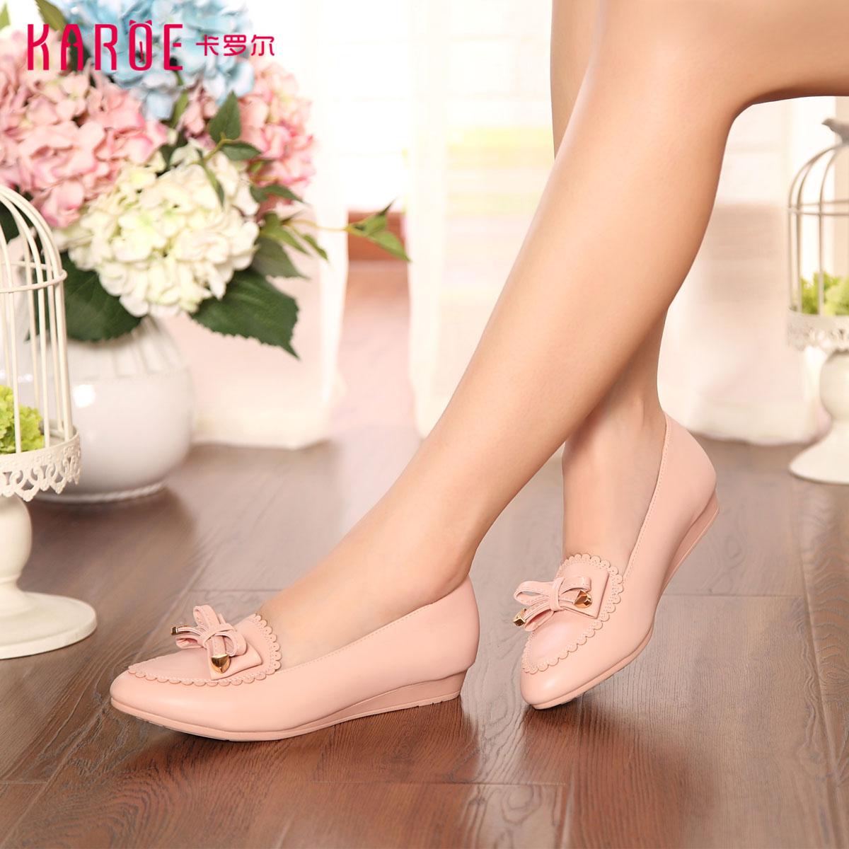 karoe女鞋新款女单鞋 简约时尚休闲鞋 pu女鞋低跟鞋女单鞋t6678