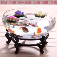 包邮大号透明圆形超白玻璃生态金鱼缸乌龟缸创意带晒台造景鱼缸