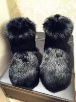 欧洲站秋冬兔皮兔毛整皮皮毛一体平底毛毛雪地皮草毛毛靴雪地靴