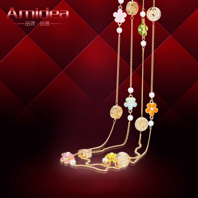 Amidea crystal pearl sweater chain necklace female long section of multi-Korean fashion jewelry with wild pendant