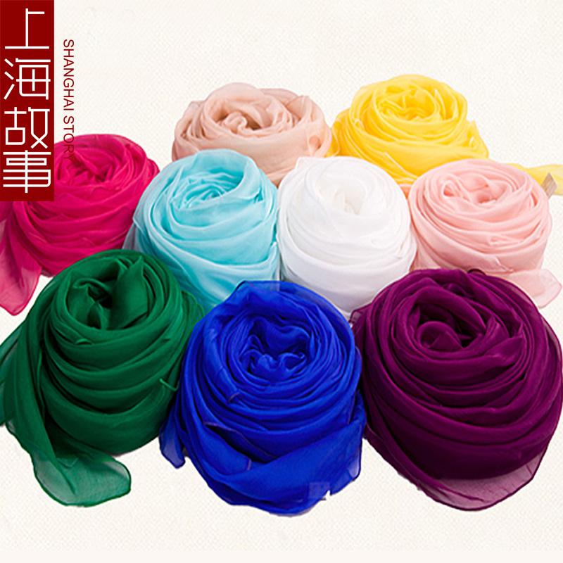 上海故事 女王丝巾纯色围巾桑蚕丝秋冬真丝长款200*140丝巾沙滩巾图片