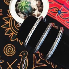 印第安民族风纳瓦霍复古图腾雕纹古银男女情侣开口手镯手环首饰