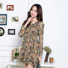 HX high-end brand clothing shop quality goods outside the women's single cut 2015 spring elastic waist print dress