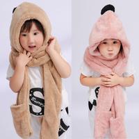 2015冬天韩版新款亲子保暖毛毛绒儿童秋帽子围巾手套三件套一体