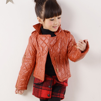 8545 US children are still girls fashion casual PU leather jacket pleated cotton jacket warm winter