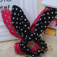 South Korean hot dot wire changed rabbit ears ring bow hair rope: rope head of hair accessories