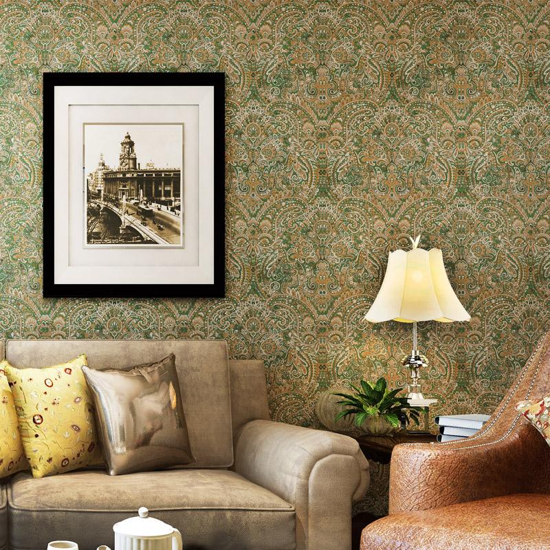 米冠复古东南亚壁纸 波西米亚风格卧室客厅电视背景 纯纸条纹墙纸