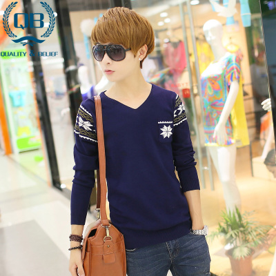 Men's v-neck sweater hedging sweater autumn and winter sweaters sweater teenage students Korean Slim sweater tide