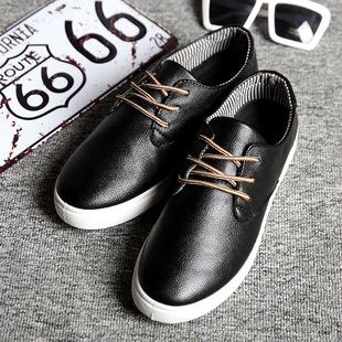 皮鞋男英伦圆头男鞋子时尚潮流板鞋春新款男士休闲一脚蹬皮鞋学生
