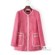 娃系列秋冬装品牌女装粉红色拉链经典淑女外套