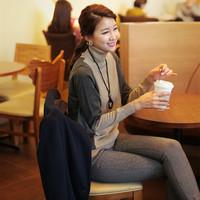 2016新款拼色竖条纹淑女装宽松毛衣女士保暖针织打底衫