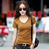 2018夏季韩范t恤女短袖 百搭显瘦 个性V领简约 上衣小清新打底衫