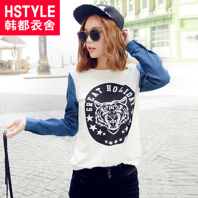 Korean homes have clothes Korean version of the 2015 spring new women's animal Monogram neutral stitching T-shirt JZ4009 jade