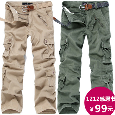 PPZ male spring and autumn outdoor canvas overalls big yards straight casual trousers multi-pocket loose camouflage