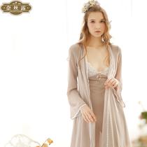 韩版夏季性感薄款雪纺蕾丝宫廷长袖睡衣女冬公主睡袍女冬两件套