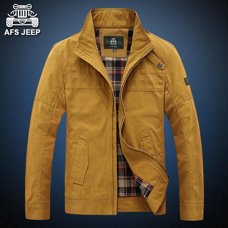 AFS JEEP秋季夹克男立领休闲外套大码宽松上衣秋装青年纯色夹克衫图片