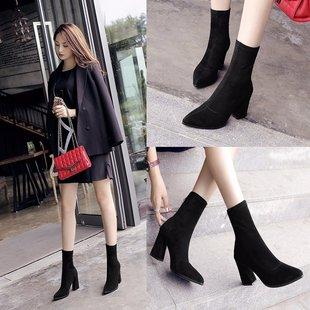 2021春秋尖头黑色弹力靴子欧美粗高跟女鞋短靴中筒骑士靴中跟