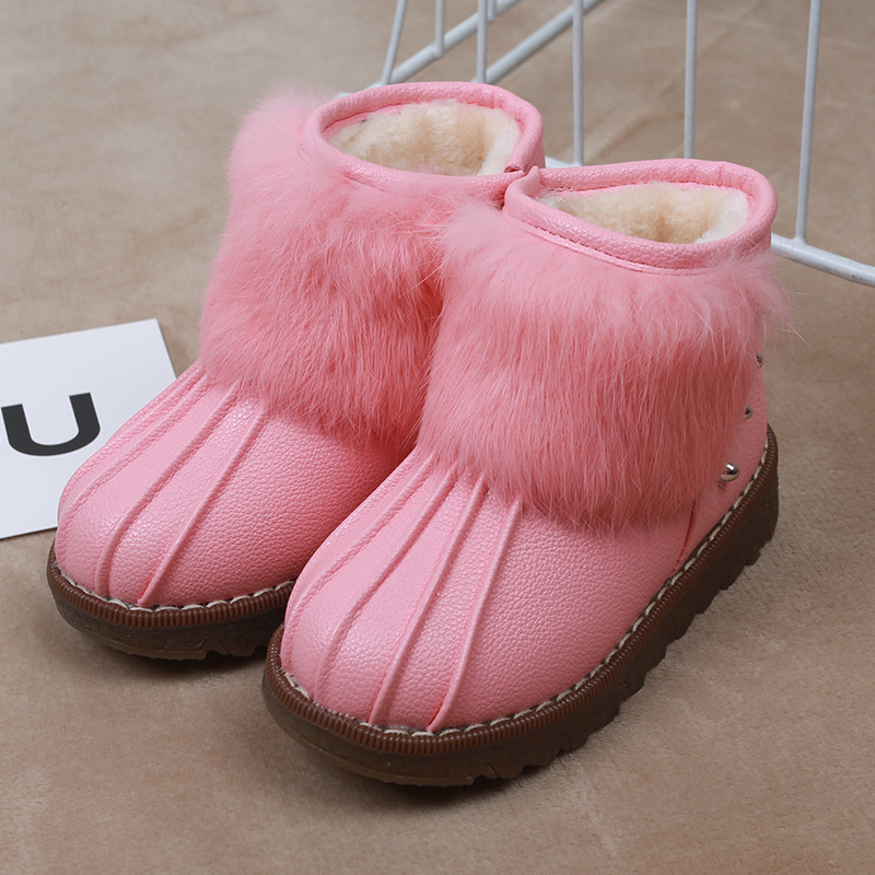 贝特兔冬季女童雪地靴2016新款皮毛一体短靴防水防滑棉靴公主靴