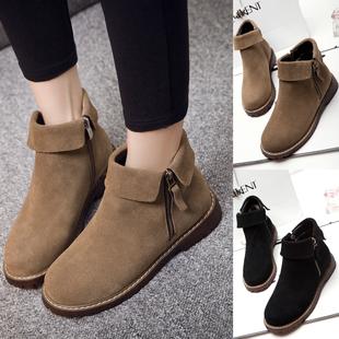 断码清仓复古欧美风靴子真皮短靴女平跟短筒及踝靴骑士靴潮鞋