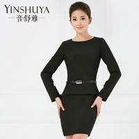 音舒雅2015春装女装新款连衣裙荷叶边假两件小黑裙黑色OL长袖修身