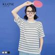 阔色2016夏装新款韩版女简约圆领短袖条纹印花百搭上衣针织T恤