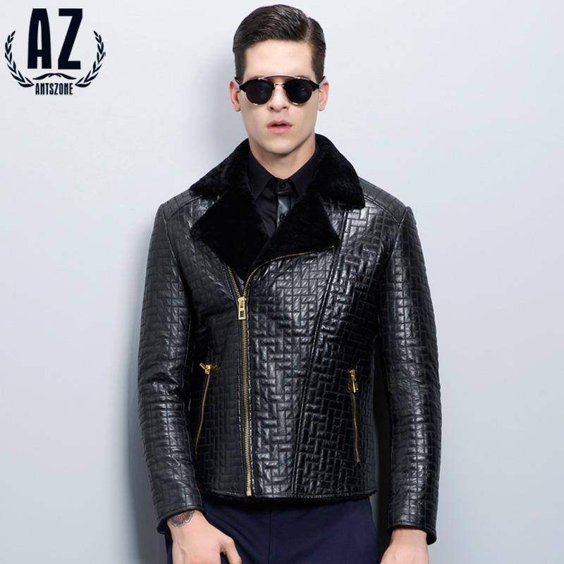 AZ蚁族专柜正品冬装新款韩版修身潮翻领短款男士真皮皮衣外套