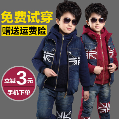 Kids boys winter 2014 new winter suit tide 3-6-8 years old cowboy children sweater thick three-piece