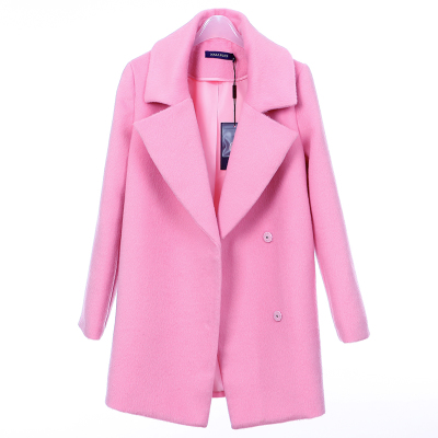 2014 winter new Korean version of sweet ladies woolen coat and long sections Slim thick woolen coat tide cocoon